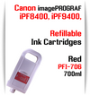 Red PFI-706 Refillable Ink cartridges 700ml Canon imagePROGRAF Printers   Works with:   Works with: CANON imagePROGRAF iPF8400SE iPF8410SE printers