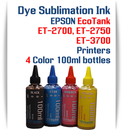 EPSON EcoTank ET-2700, ET-2750, ET-3700 Printer 4 Color Package 100ml bottles Dye Sublimation Bottle Ink