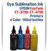 EPSON EcoTank ET-3750 ET-4750 Printer 4 Color Package 100ml bottles Dye Sublimation Bottle Ink
