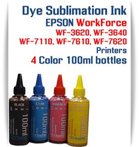 4 100ml bottles Dye Sublimation Ink Package   Included Colors: Black, Cyan, Magenta, Yellow  Epson WorkForce WF-3620, WF-3640, WF-7110, WF-7610, WF-7620 printers