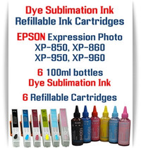 6 Refillable Ink Cartridges (empty) 6 100ml bottles Dye Sublimation Ink Package Epson Expression Photo XP-850, XP-860, XP-950, XP-960 Printers