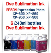 6 240ml bottles Dye Sublimation Ink  Epson Expression Photo XP-850, XP-860, XP-950, XP-960 Printers