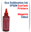 Magenta EPSON EcoTank printer Dye Sublimation Ink 1000ml bottle  EPSON Expression ET-2500 EcoTank Printer, EPSON Expression ET-2550 EcoTank Printer, EPSON Expression ET-2600 EcoTank Printer, EPSON Expression ET-2650 EcoTank Printer, EPSON Expression ET-2700 EcoTank Printer, EPSON Expression ET-2750 EcoTank Printer, EPSON Expression ET-3600 EcoTank Printer, EPSON Expression ET-3700 EcoTank Printer  EPSON WorkForce ET-3750 EcoTank Printer, EPSON WorkForce ET-4500 EcoTank Printer, EPSON WorkForce ET-4550 EcoTank Printer, EPSON WorkForce ET-4750 EcoTank Printer, EPSON WorkForce ET-16500 EcoTank Printer
