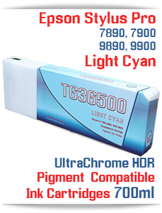 T636500 Light Cyan - Epson Stylus Pro UtraChrome HDR Pigment Compatible Ink Cartridge 700ml