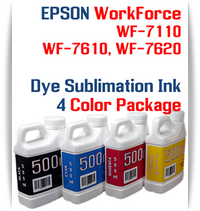 4 500ml bottles Dye Sublimation Ink Package   Included Colors: Black, Cyan, Magenta, Yellow  Epson WorkForce WF-3620, WF-3640, WF-7110, WF-7610, WF-7620 printers
