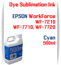 Cyan 500ml bottle Dye Sublimation Ink  Epson WorkForce WF-7210, WorkForce WF-7710, WorkForce WF-7720 printers
