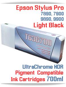T636700 Light Black - Epson Stylus Pro UtraChrome HDR Pigment Compatible Ink Cartridge 700ml