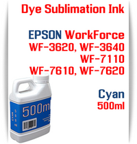 Cyan 500ml bottles Dye Sublimation Ink Package  Epson WorkForce WF-3620, WorkForce WF-3640, WorkForce WF-7110, WorkForce WF-7610, WorkForce WF-7620 Printers