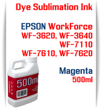 Magenta 500ml bottles Dye Sublimation Ink Package  Epson WorkForce WF-3620, WorkForce WF-3640, WorkForce WF-7110, WorkForce WF-7610, WorkForce WF-7620 Printers