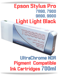 T636900 - Light Light Black- Epson Stylus Pro UtraChrome HDR Pigment Compatible Ink Cartridge 700ml