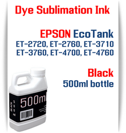 Black EPSON EcoTank ET-2720 ET-2760 ET-3710 ET-3760 ET-4700 ET-4760 Printer 500ml  Dye Sublimation Bottle Ink