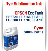 Cyan EPSON EcoTank ET-2720 ET-2760 ET-3710 ET-3760 ET-4700 ET-4760 Printer 500ml  Dye Sublimation Bottle Ink