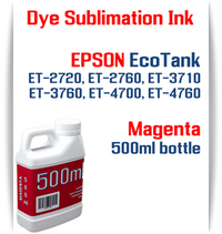 Magenta EPSON EcoTank ET-2720 ET-2760 ET-3710 ET-3760 ET-4700 ET-4760 Printer 500ml  Dye Sublimation Bottle Ink