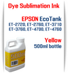 Yellow EPSON EcoTank ET-2720 ET-2760 ET-3710 ET-3760 ET-4700 ET-4760 Printer 500ml  Dye Sublimation Bottle Ink