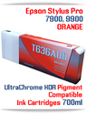 T636A00 Orange - Epson Stylus Pro 7900, 9900 UtraChrome HDR Pigment Compatible Ink Cartridge 700ml