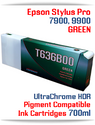 T636B00 Green- Epson Stylus Pro 7900, 9900 UtraChrome HDR Pigment Compatible Ink Cartridge 700ml
