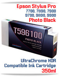 T596100 Photo Black Epson Stylus Pro 7700/9700, 7890/9890, 7900/9900 UtraChrome HDR Pigment Compatible Ink Cartridge 350ml