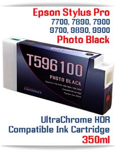 T596100 Photo Black Epson Stylus Pro 7700/9700, 7890/9890, 7900/9900 UtraChrome HDR Pigment Compatible Ink Cartridge 350ml