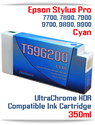 T596200 Cyan Epson Stylus Pro 7700/9700, 7890/9890, 7900/9900 UtraChrome HDR Pigment Compatible Ink Cartridge 350ml