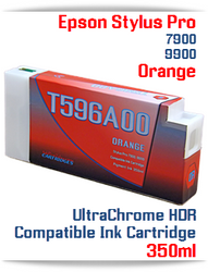 T596A00 Orange Epson Stylus Pro 7900/9900 UtraChrome HDR Pigment Compatible Ink Cartridge 350ml