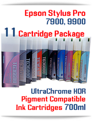 11 Cartridge Package, Epson Stylus Pro 7900, 9900 Compatible UltraChrome HDR Pigment Ink Cartridges 700ml