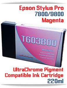 T603B00 Magenta Epson Stylus Pro 7800, 9800 Compatible Pigment Ink Cartridges 220ml