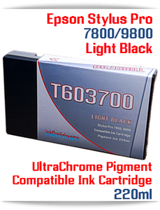 T603700 Light Black Epson Stylus Pro 7800/9800 Compatible Pigment Ink Cartridges 220ml