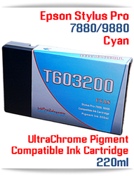 T603200 Cyan Epson Stylus Pro 7880, 9880 Compatible Pigment Ink Cartridges 220ml