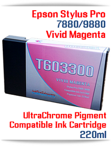 T603300 Vivid Magenta Epson Stylus Pro 7880, 9880 Compatible Pigment Ink Cartridges 220ml