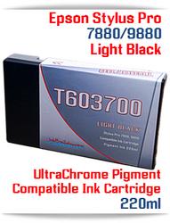 T603700 Light Black Epson Stylus Pro 7880/9880 Compatible Pigment Ink Cartridges 220ml