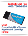 T544200 Cyan Epson Stylus Pro 7600/9600 Compatible UltraChrome Pigment Ink Cartridge 220ml