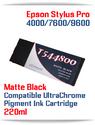 T544800 Matte Black Epson Stylus Pro 7600/9600 Compatible Pigment Ink Cartridges 220ml