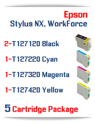 5 Cartridge Package T127 Epson WorkForce Compatible Ink Cartridges