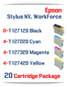 20 package - T127 Epson WorkForce Compatible Ink Cartridges