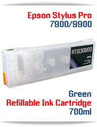 Green Epson Stylus Pro 7900, 9900 Refillable Ink Cartridges