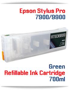 Green Epson Stylus Pro 7900, 9900 Refillable Ink Cartridges