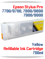 Yellow Epson Stylus Pro 7890/9890 Refillable Ink Cartridges
