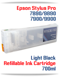 Light Black Epson Stylus Pro 7890/9890 Refillable Ink Cartridges