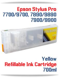 Yellow Epson Stylus Pro 7700, 9700 Refillable Ink Cartridges