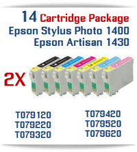 14 Cartridge Package T079 Epson Epson Stylus Photo 1400 & Artisan 1430 Compatible Printer Ink Cartridges