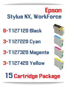 15 Cartridge Package T127 EPSON WorkForce Compatible Ink Cartridges