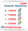 20 Cartridge Package T126 Epson WorkForce, Stylus NX Compatible Ink Cartridges Includes: 8 Black, 4 Cyan, 4 Magenta, 4 Yellow