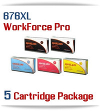 5 Cartridge Package 676XL Epson WorkForce Pro Compatible Printer Ink Cartridges