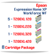 8 Cartridge Package - Cartridges Included: 5 Black, 1 Cyan, 1 Magenta, 1 Yellow  Epson Expression Home XP-200, XP-300, XP-310, XP-400, XP-410 , WorkForce WF-2510, WF-2520, WF-2530, WF-2540 Compatible Ink Cartridges