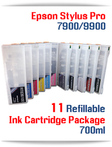 11 Cartridge Package - Epson Stylus Pro 7900, 9900 Refillable Ink Cartridges 700ml