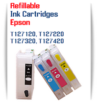 Refillable Epson WorkForce, Stylus NX Printer Ink Cartridges T127120, T127220, T127320, T127420