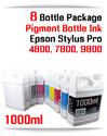 8 Color Package Refill Ink Epson Stylus Pro 4800, 7800, 9800 Printers 1000ml
