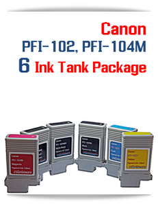 6 Ink Tank Package - PFI-102, PFI-104M Canon Compatible Pigment Ink Tanks