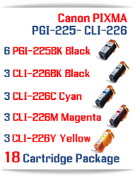 18 Cartridge Package - Included: 6-PGI-225BK, 3-CLI-226BK, 3-CLI-226C Cyan, 3-CLI-226M Magenta, 3-CLI-226Y Yellow, Compatible Canon PIXMA printer ink cartridges