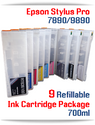 9 Refillable Ink Cartridge Package Deal - Epson Stylus Pro 7890, 9890 Printer